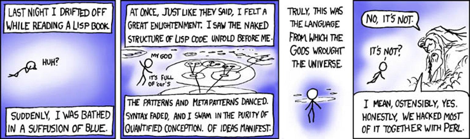 xkcd 224: lisp (credits: Randall Munroe)